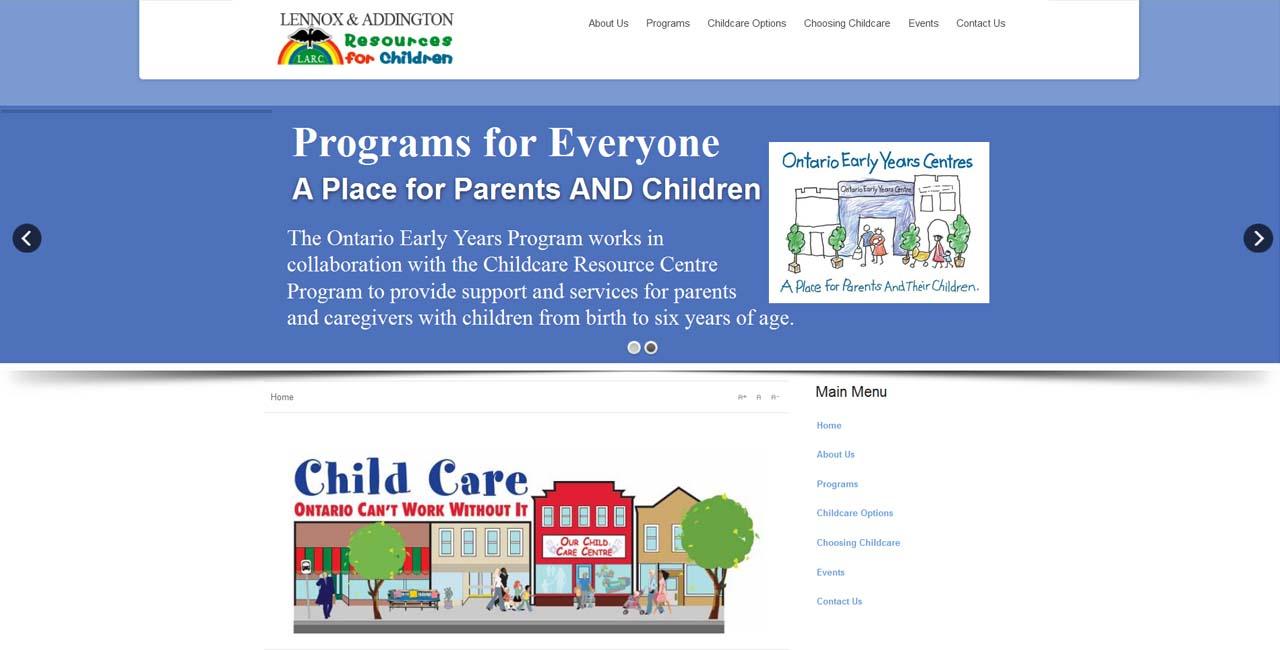 web design kingston portfolio larc 4 kids resource for families