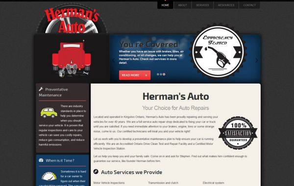 Web Design Kingston | Our Portfolio | Herman's Auto