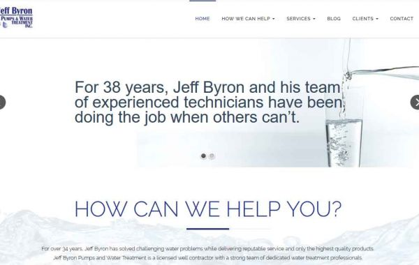 Website Design Kingston | Portfolio | Jeff Byron Pumps and Water Treatment