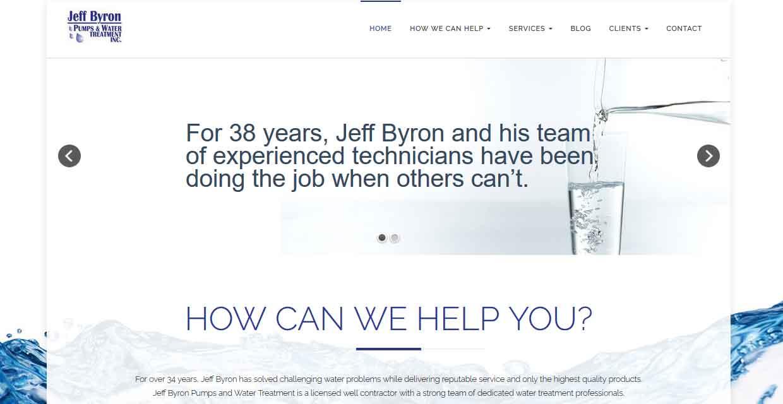 Website Design Kingston   Portfolio   Jeff Byron Pumps and Water Treatment