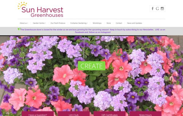Web Design Kingston | Our Portfolio | Sun Harvest Greenhouses
