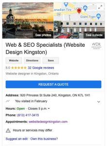 Example of Website Design Kingston Google My Business Profile